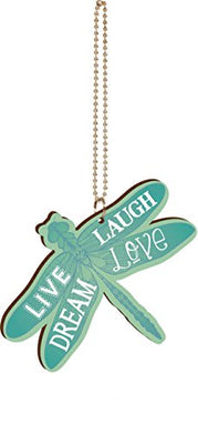 P. Graham Dunn Live Laugh Dream Love Teal Dragonfly Shaped 4 X 3 Wood Rear-View Mirror Car Charm