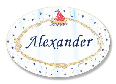 The Kids Room By Stupell Alexander, Sailboat And Stars Personalized Oval Wall Plaque