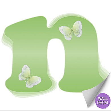 Wall Decals Letter  N  Green Butterfly Letters Baby Name Decal Stickers Decorative Alphabet Decor - Children'S Room, Baby'S Nursery, Girl'S Bedroom, Kid'S Playroom By Bugs-N-Blooms