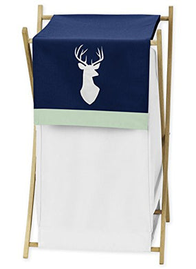 Baby/Kids Clothes Laundry Hamper For Navy Blue, Mint And Grey Woodsy Deer Boys Bedding Sets
