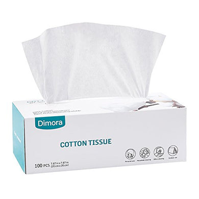 Dimora Facial Cotton Tissue, Dry Cleansing Cloth Wipes For Sensitive Skin, 100 Count