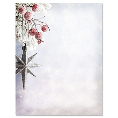Frosted Berries And Star Christmas Letter Papers - Set Of 25 Christmas Stationery Papers Are 8 1/2  X 11 , Compatible Computer Paper