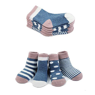 Gryiyi Baby Socks Unisex Infant Turn Cuff Socks For 0-36 Months Baby, 4 Pair (12-36 Months, Thin Style:Denim Blue)