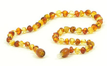Load image into Gallery viewer, Polished Baltic Amber Teething Necklace - 12.6 Inches (32 Cm) - Unisex - Hand-Made Anti Flammatory, Drooling & Teething Pain Reduce (Cognac / Lemon)