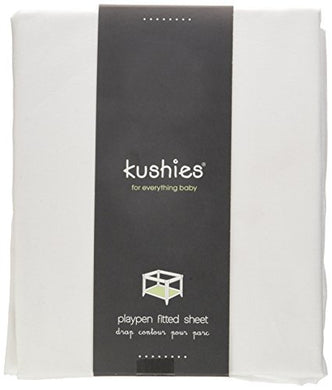 Kushies Percale Fitted Play Pen Sheet, White