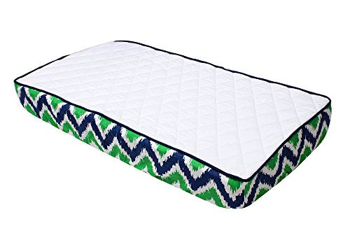 Green And Blue Zig Zag And Solid White Quilted Changing Pad Cover