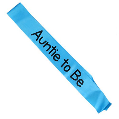 Magideal Auntie To Be Writing Baby Shower Party Sash Blue