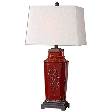 Muttermui Retro French Country Red Distressed Ceramic Old World Tuscan Table Lamp 31 Inches H