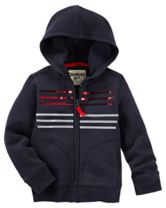 Oshkosh Girl'S Usa Sparkle French Terry Hoodie; Navy (12 Months)