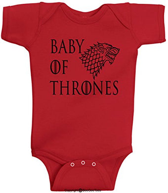 Baby Of Thrones Stark Winter Is Coming Romper Funny Onesie By Beegeetees (12 Months, Red)