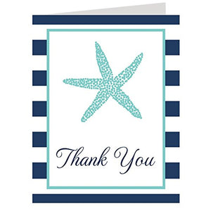 Thank You Cards, Nautical, Theme, Starfish, Beach, Stripes, Aqua, Navy, Blue, Baby Shower, Wedding, Bridal Shower, Multiple Color Choices, Set Of 50 Folding Notes With Envelopes, (Aqua/Navy)
