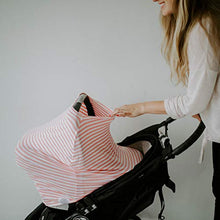 Load image into Gallery viewer, Parker Baby 4 In 1 Car Seat Cover For Girls - Stretchy Carseat Canopy, Nursing Cover, Grocery Cart Cover, Infinity Scarf - Pink/White Stripes