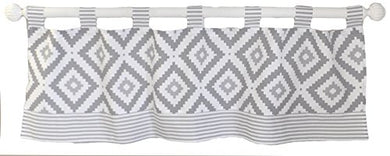 My Baby Sam Imagine Curtain Valance, Gray, White, 2 Count