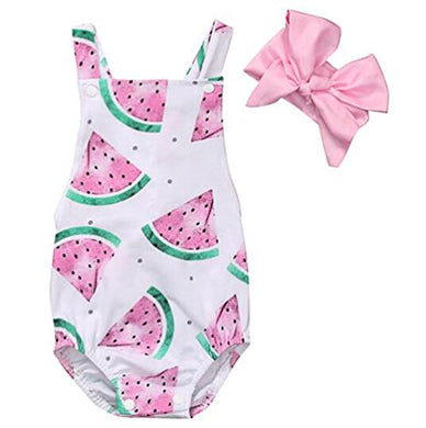 Baby Girl One Piece Outfits Newborn Bodysuit Sleeveless Romper Watermelon Print Backless Ruffle Clothes With Headband 3 Months