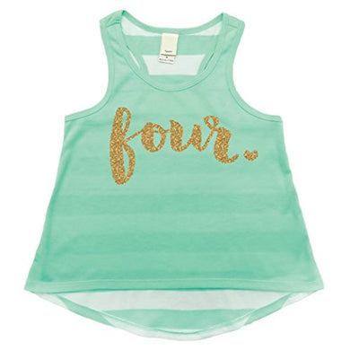 4Th Birthday Outfit, Girl 4Th Birthday Tank Top, Four Year Old Girl (4T)