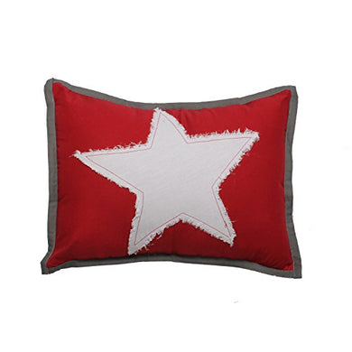 Bacati Stars Muslin Dec Pillow, Red
