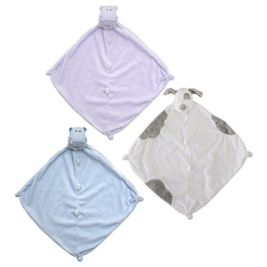 Angel Dear Bundle Of 3 Blankies - Purple Hippo, Blue Hippo And Spotted Pup