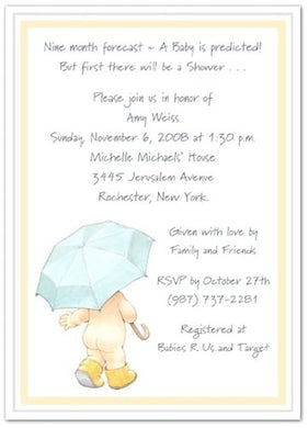 Umbrella And Rain Booty Baby Shower Invitations - Set Of 20