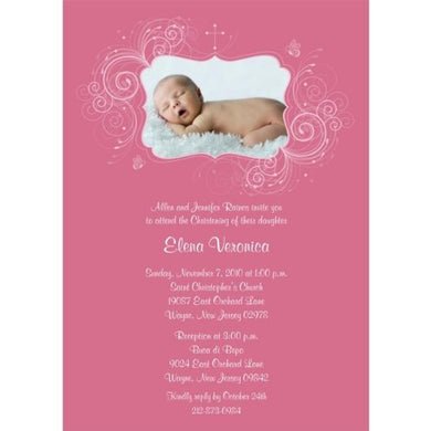Accent Swirls With Cross Girl Baptism Invitations - Set Of 20