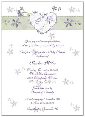 Violet Hearts & Flowers Baby Shower Invitations - Set Of 20