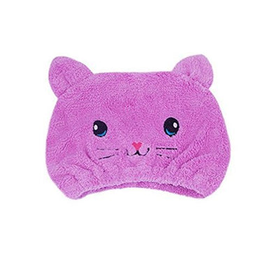 Auch 1Pcs Adjustable Plush Cute Animal Baby Hair Drying Hat Super Absorbent Towel Adjustable Infant Shower Bath Cap For Kids Boys Girls From 1 To 12 Yrs, Purple Cat