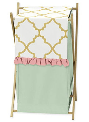 Clothes Laundry Hamper For Ava Mint Coral White And Gold Trellis Girls Bedding Collection