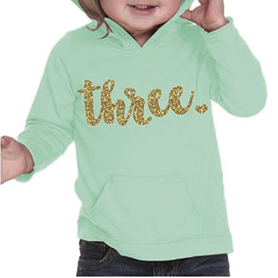 Girl Third Birthday Shirt, Third Birthday Outfit, Three Year Old Birthday Outfit (4T, Ice Green)