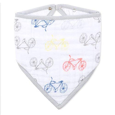 Aden + Anais Classic Bandana Bib, 100% Cotton Muslin, Soft Absorbent 3 Layers, Adjustable, 8.5 X 16, Single, Leader Of The Pack, Bicycles