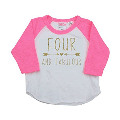 Girl Fourth Birthday Shirt, Four And Fabulous Shirt (2T)