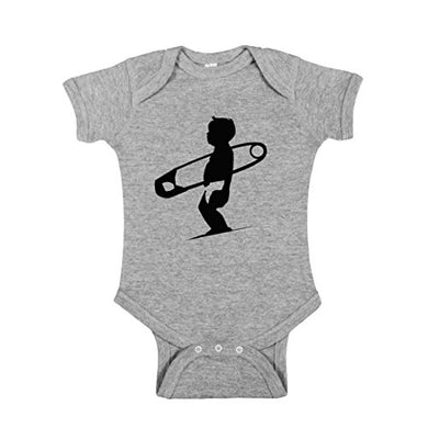 Diaper Pin Surfboard Surfing Baby Wave 100% Cotton Infant Bodysuit Onesie One Piece (18 Mos., Grey)