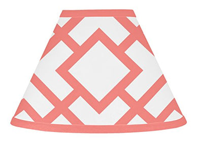 Modern White And Coral Diamond Geometric Baby, Childrens Lamp Shade