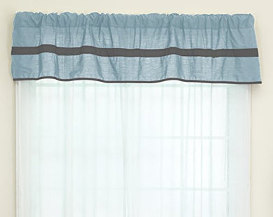 Baby Doll Bedding Solid Stripe Window Valance, Light Blue/Grey