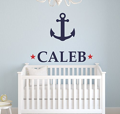 Custom Anchor Name Wall Decal - Girls Kids Room Decor - Nursery Wall Decals - Nautical Wall Decor (22Wx18H)