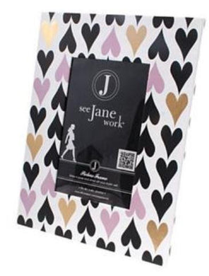 See Jane Work Picture Frame, Hearts, 10 H X 6 W, Gold/Pink/Black