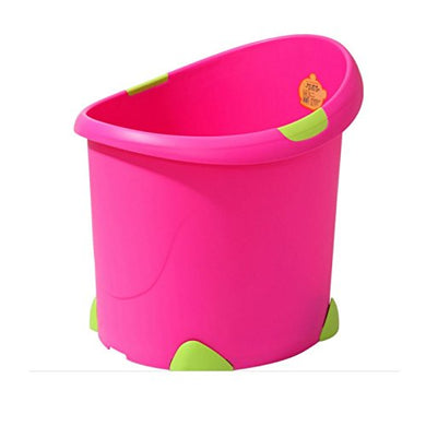 Bath Seat Tub, Kapas [2-12 Years] Portable Anti-Floating Seat Bath Tube For Baby, Children, Kids (Pink / Green Handle)