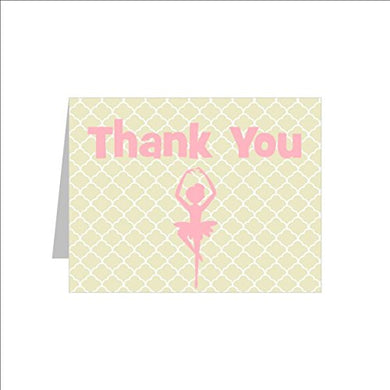 Blank Ballerina Thank You Note Card Set, Blank Ballet Thank You Cards (Includes 12 Top Folding Note Cards And Envelopes)