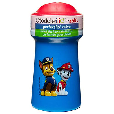 Zak Designs Toddlerific Perfect Flo Toddler Cup With Paw Patrol Boy Graphics, Single Wall Construction And Adjustable Flow Technology