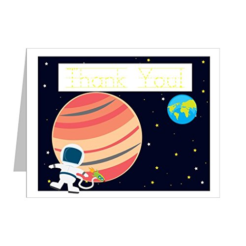 Astronaut Thank You Notes For Kids, Astronaut Thank You Cards, Astronaut Stationery Set | (12) Top-Folding Note Cards And Envelopes Included | Traceable Message Inside