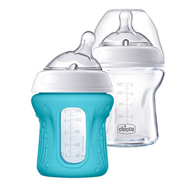 Chicco Naturalfit Glass Baby Bottle 2 Pack, 0M+ Slow Flow, With Bonus Silicone Sleeve