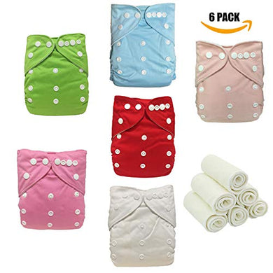 Mnapure Cloth Diapers,Reusable Washable All In One Size Pocket Diapers, Adjustable Snap,6 Pcs Pack Cloth Diaper With 1 Insert Each, 6 Pcs + 6 Microfiber Insert (Gril-2)