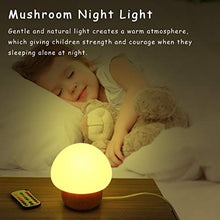 Load image into Gallery viewer, Night Lights For Kids, Angtuo Baby Led Mushroom Night Lamp, Soft Silicone Lampshape, 100% Rubber Wood, 4 Light Modes And 16 Color By Wireless Remote - Us Plug