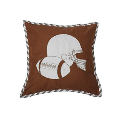 Bacati Muslin Dec Pillow, Football/Brown/Grey