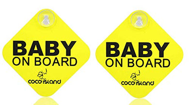 Inspiration  Baby On Board  With Suction Disks Sign, (5X5) (2Pack) (Yellow )