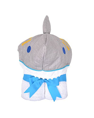 3 Marthas Boutique Everykid Hooded Towel (Blue/Gray - Shark Smiles Character Towel)