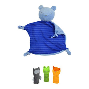 Green Sprouts Blankie Friend And Finger Puppet Set Made From Organic Cotton, Blue/Gray/Green/Orange
