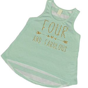 4Th Birthday Tank Top, Girl 4Th Birthday Outfit, Four And Fabulous (3T)