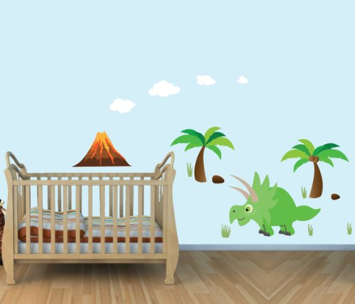 Large Dinosaur Wall Decals, Triceratops, Colorful Fabric Wall Stickers For Baby Room