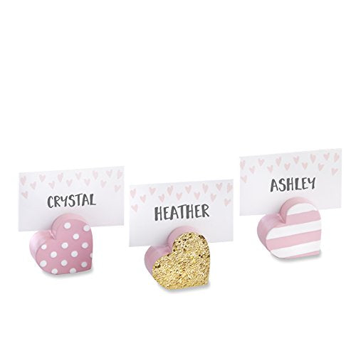Kate Aspen Set Of 6 Heart Place Card Holders, Pink And Gold/Assorted