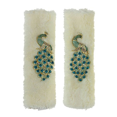 Greenery Lovely Rhinestone Peacock Pattern 925 Cm Automotive Car Vehicle Seat Safety Belt Cover Soft Plush Cartoon Strap Cover Relieving Stress Protection Car Decorations One Pair