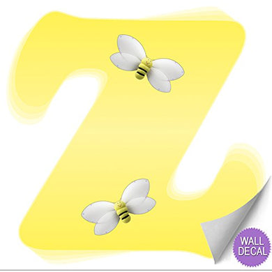 Wall Letters Z Yellow Bumble Bee Letter Stickers Alphabet Initial Vinyl Sticker Kid Decals Children Room Decor Baby Nursery Girl Bedroom Decorations Child Names Personalized Decal Bumblebee Bees Diy